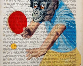 MATCH BALL giclee print poster mixed media painting illustration drawing