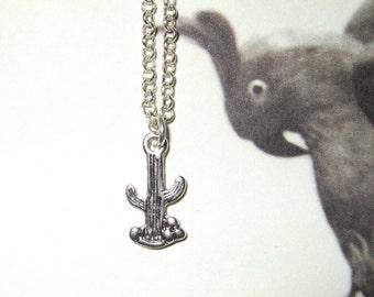 Cactus Necklace, Silver Cactus Charm, Western Style, Simple Necklace, Cacti Necklace, Tiny Cactus Charm, Cactus Pendant, Everyday Jewelry