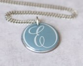 Initial E Necklace, Mint Blue Wine Foil Stainless Steel Washer Necklace