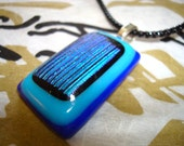 Turquoise blue, baby blue, sky blue, black dichroic, fused glass, pendant, necklace, gift