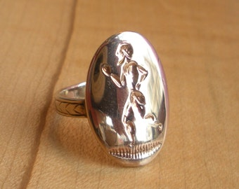 Vintage 14k Yellow Gold Intaglio Ring - Greek Olympian