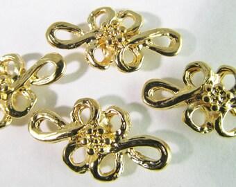 6 Vintage Floral Gold Metalized Two Loop Metal Connectors Con118