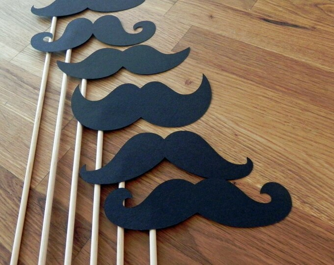Photo Props: Mustache Set (6 Pieces) - party wedding engagement birthday die cut black mustaches assortment photo booth prop
