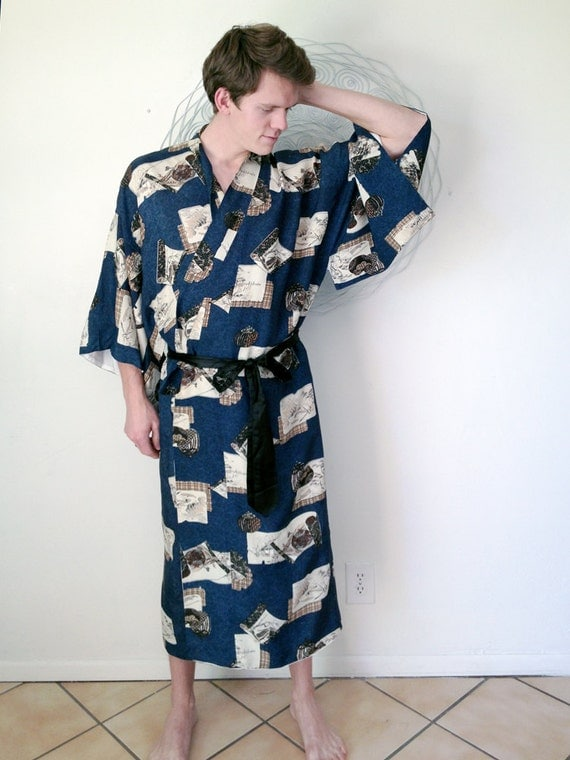 Unisex Men's Japanese Rayon KIMONO Robe VTG 1940s 1950s