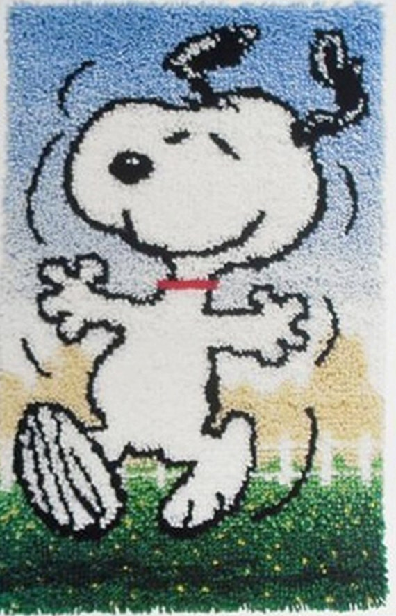 Vintage Dancing Snoopy Peanuts Latch Hook Shag Rug Kit 1970s
