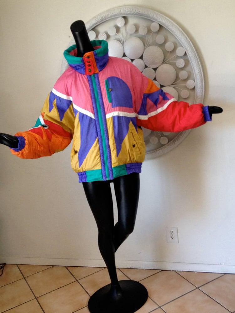 1980s ski jacket vintage 80s ski party mod asymmetric new wave