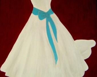 Wedding Dress Painting, Framed Art Work, Wedding Dress Art
