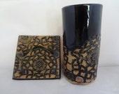 Black Ceramic Vase and Dish Set, Ceramic Lace Vase and Plate Set, Black Pottery Vase, Black Pottery, Ceramic Lace Dish, Ceramic Lace Vase