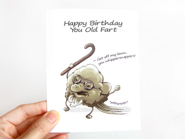 funny birthday card old fart blank greeting card happy, Birthday card