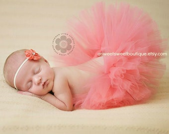 Sweet Coral Blossom Tutu Newborn Tutu Custom Made With Matching Vintage Style Flower Headband Stunning Newborn Photo Prop