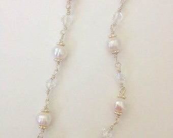 Petite Special Occasion Wire-Wrapped Necklace Pearl and Crystal