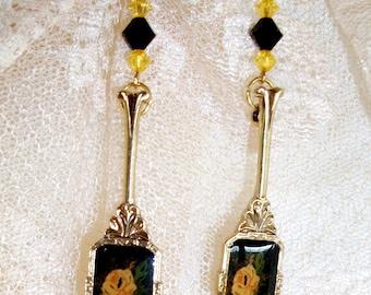 """Yellow & Black EARRINGS, HANDMADE w/ VINTAGE Hand Mirror Style Stamped Metal Dangles -  """"Vanity""""  -Yellow Roses, Swarovski Beads, Victorian"""