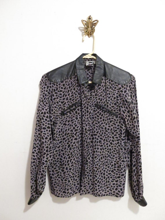 Sale 50% Off/// Vintage SNOW LEOPARD Mixed Silk and Black Leather Rock Star Western Blouse, S-M