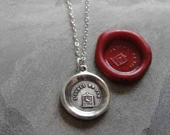 Forget Me Not - Wax Seal Necklace bird in birdcage - Remember Me antique wax seal charm jewelry by RQP Studio