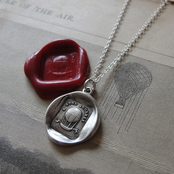 A Good Journey - hot air balloon wax seal necklace in fine silver
