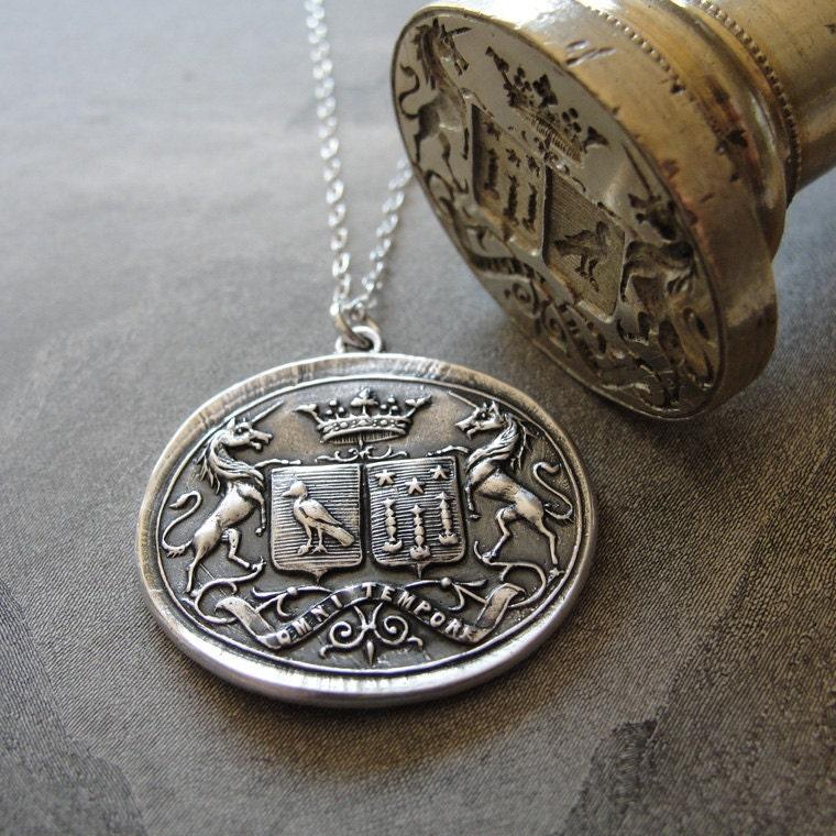 Wax Seal Necklace Unicorn Crest Birds Stars antique wax seal