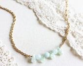 BLUE LAGOON - Mint aquamarine gemstone // gold finish necklace // gift for her // everyday jewelry // rustic // minimalist // bridesmaid