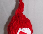 Newborn Hand Knitted Red Heart Hat Photography Prop Ready to Ship