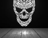 Skull Decor, Skull Decal, Swirl, Spider, Bug, Bat, Swirl Decal, Sticker, Vinyl, Halloween Decorations, Wall, Home Decor, Gothic, Goth, Web