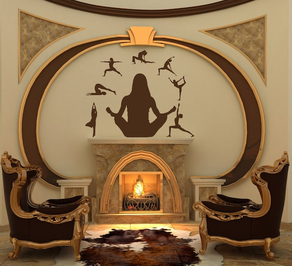Yoga studio wall decor : Yoga wall decal art studio decor artwork