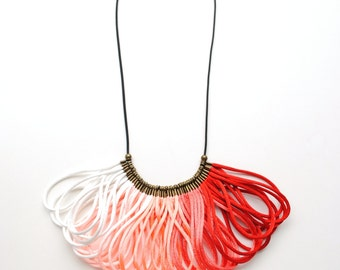 Ombre necklace, statement necklace, red ombre necklace, coral boho necklace, rope jewelry, bib necklace, gift for her, summer trends