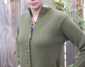 Tami Olive Green Wool Sweater ..  w/lacy trim and shiny gold colored buttons