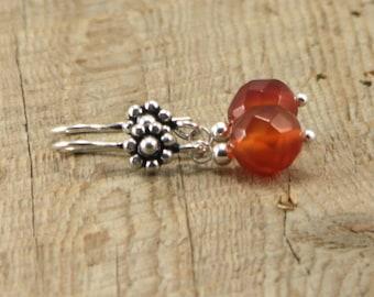 Orange Carnelian Earrings with Silver Hooks
