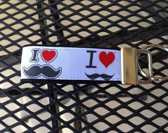 I Heart Mustache Keychain Fob