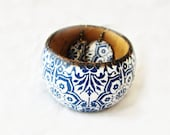 Scandinavian FREE SHIPPING bracelet  and earrings set, navy blue pattern, round earrings, rustic country style