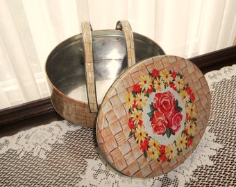 Vintage Roses Daisy Oval Double Handle Biscuit Cookie Tin Basket Style Storage