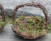 Flower Girl Basket Nest Set of 2 Darling Nests With Twigs Of Grapevine,  Rustic Vintage, Shabby Chic Wedding