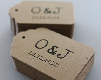 Wedding Favor Tags or Product Labels - Set of 50 - Large Kraft Brown Double Sided