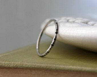 Oxidized Dash Ring - Silver Line Ring - Dash Stacking Ring - Line Stacker Ring - Silver Notch Ring - Argentium Silver - Hypoallergenic