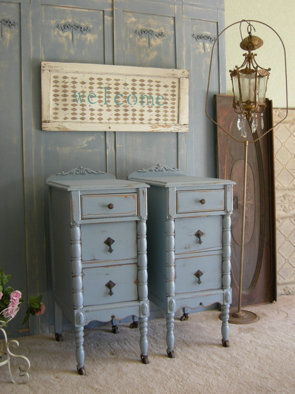 Antique Pair Of Nightstands Chic Bedroom Furniture Shabby