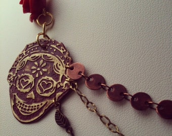 """Day Of The Dead """"Anita"""" 3 Chain necklace"""