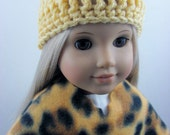 3 Piece Fleece Poncho Set for The American Girl Doll, Animal Print