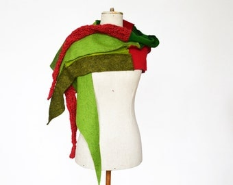 green red wool shawl scarf unique, felt, hand knitted OOAK, soft felted wool, geometrical clotch, cozy patchwork winter scarf, wrap shrug 56