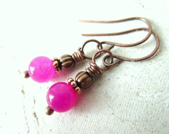 Magenta Dangle Earrings. Magenta Jade & Copper Drop Earrings. Pink Earrings. Copper Earrings. Pink Jewelry. Breast Cancer Awareness Jewelry