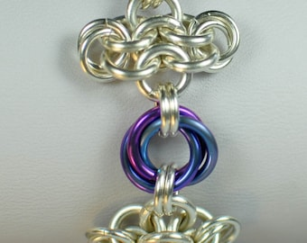 Sterling Silver and Twilight Chainmaille Rosette Bracelet - Ready to Ship