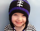 Custom Crocheted Football hat - any team available - ALL sizes available - earflaps and tassels
