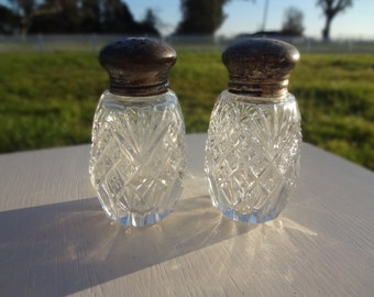 Vintage Pressed Glass Shakers with Sterling Silver Lids