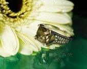 Gold Gemstone Engagement Ring, Gemstone Ring, Statement Ring, Gemstone Diamond Ring, Herkimer Diamond Princess Cut