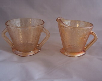 Additional 10% Off......SALE  Vintage Amber Floragold Jeanette Glass Sugar and Creamer MINT Condition
