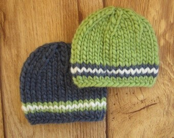 Newborn Green and Navy Blue Chunky Wool Knit Beanies  - Boy Twin Set - Ready to Ship Photography Prop, RTS Photo Prop