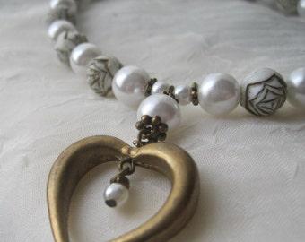 Brass Heart Necklace Bracelet and Earrings Set