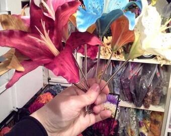 Silk Tiger Lily Hair Stick