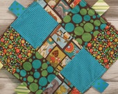 """Baby Ribbon Blanket Tag Lovey """"RIBbee"""" Boutique Patchwork Sensory Taggie Toy- forest friends -orange, brown, teal, yellow, red"""