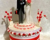 RED HOT Valentines Heart Wedding Cake Topper