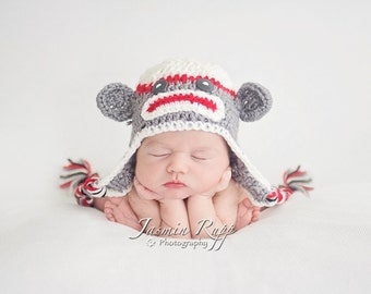 Newborn Boy Sock Monkey Hat with Earflaps and Ties