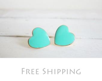 Mint Green Earrings Sea Foam Blue Mint Heart Earrings Teal Turquoise Aqua Gold Plated Post Studs Wedding Bridal Jewelry FREE SHIPPING